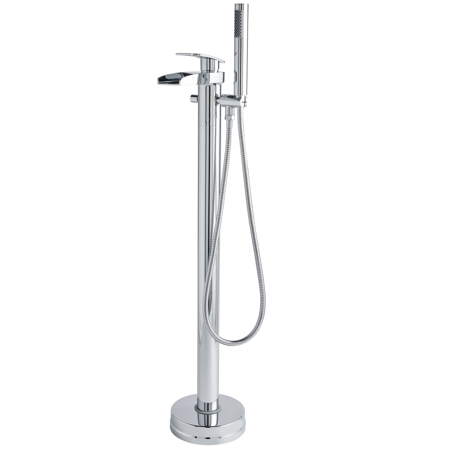 Hudson Reed Rhyme Mono Basin Mixer Tap and Bath Shower Mixer Tap, Floor Standing, Chrome