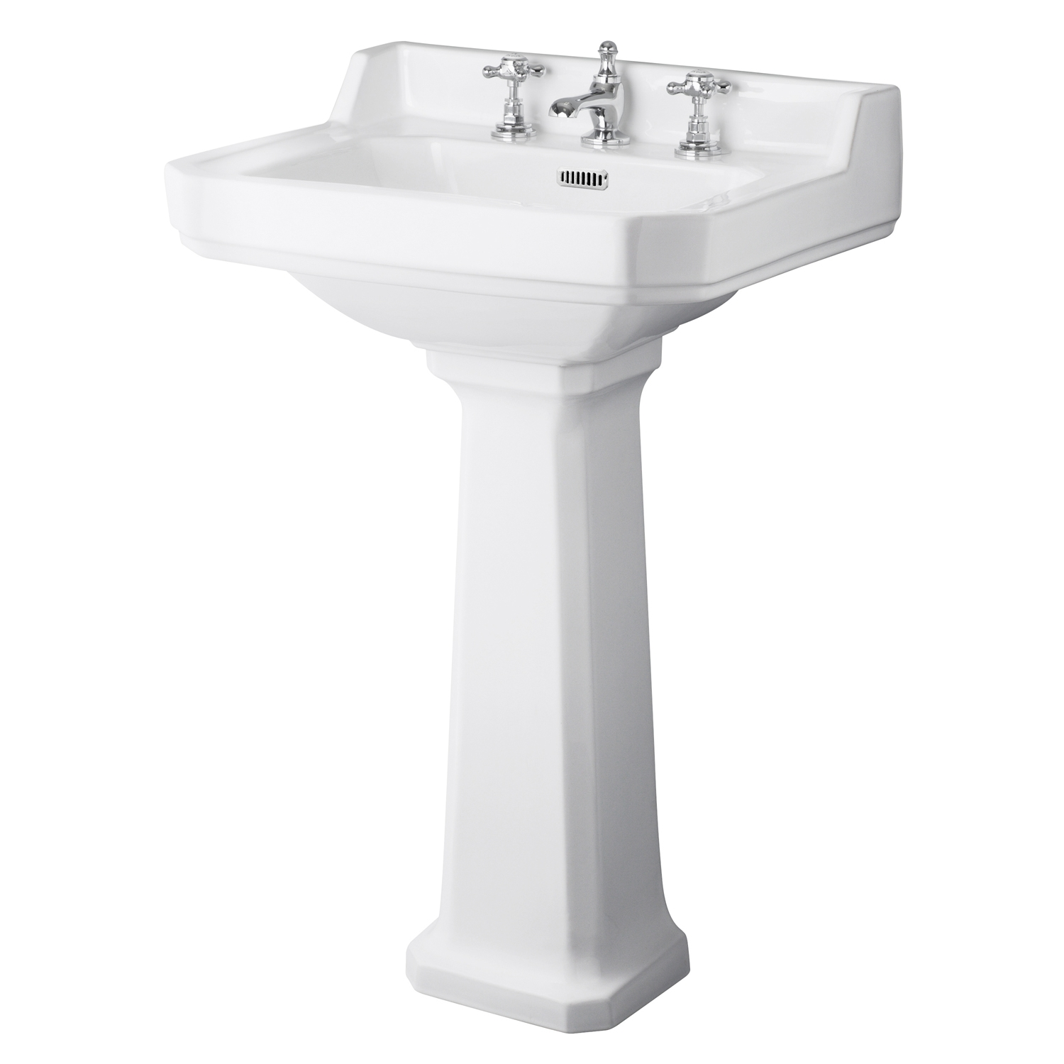 Hudson Reed Richmond Basin with Full Pedestal 600mm Wide - 3 Tap Hole