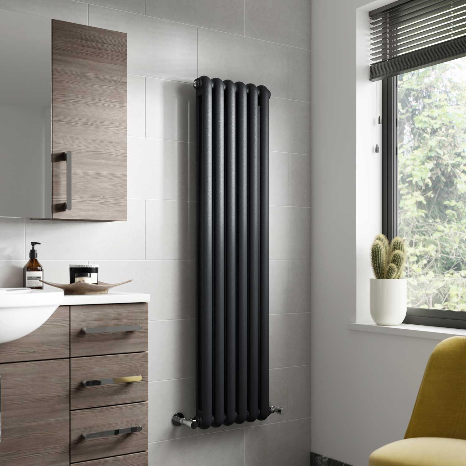 Hudson Reed Salvia Double Designer Vertical Radiator 1500mm H x 383mm W Anthracite