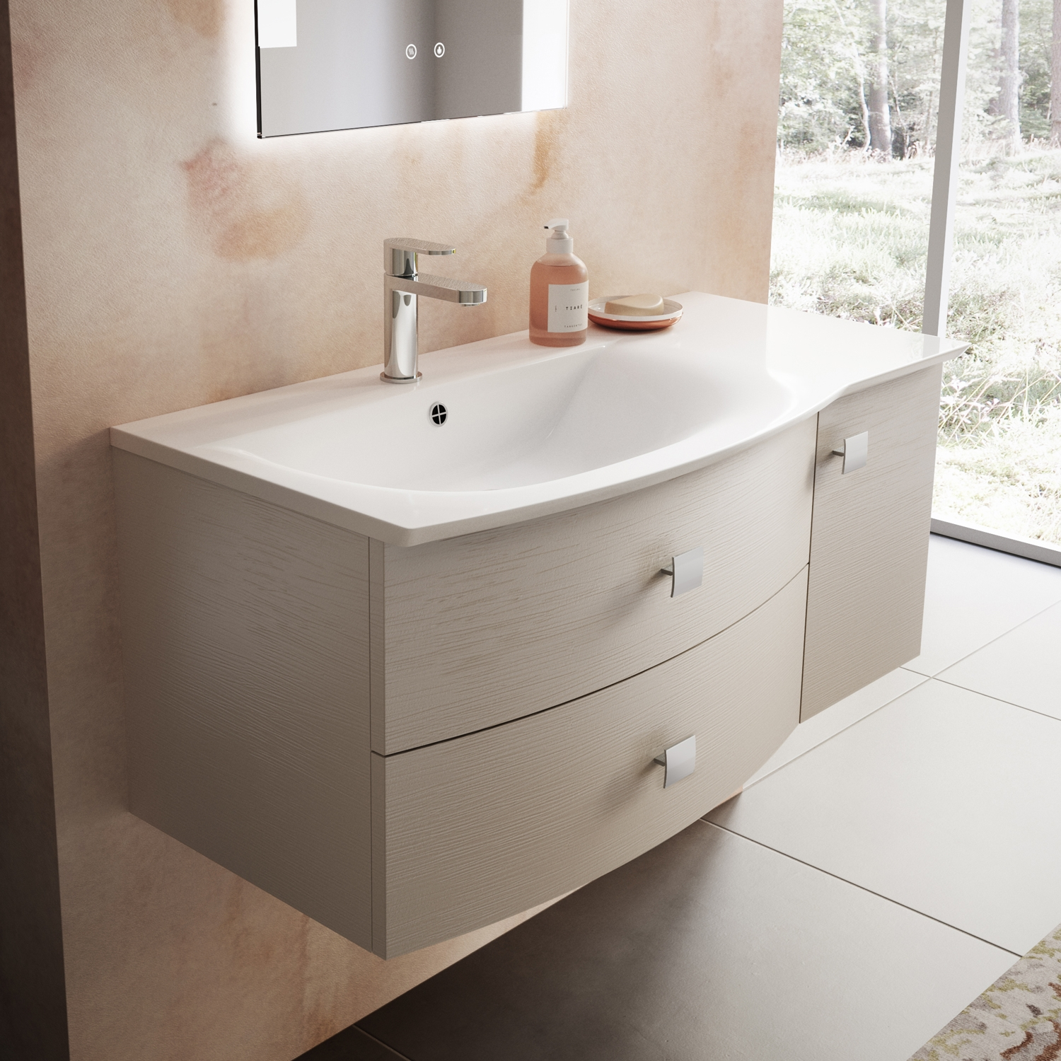 Hudson Reed Sarenna LH Wall Hung Vanity Unit and Basin 1000mm Wide Cashmere 1 Tap Hole