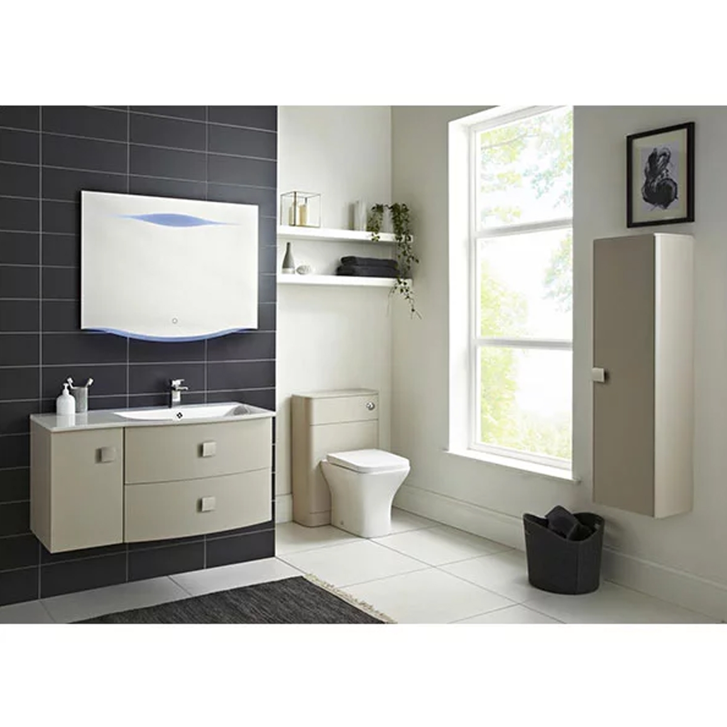 Hudson Reed Sarenna RH Wall Hung Vanity Unit and Basin 1000mm Wide Cashmere 1 Tap Hole