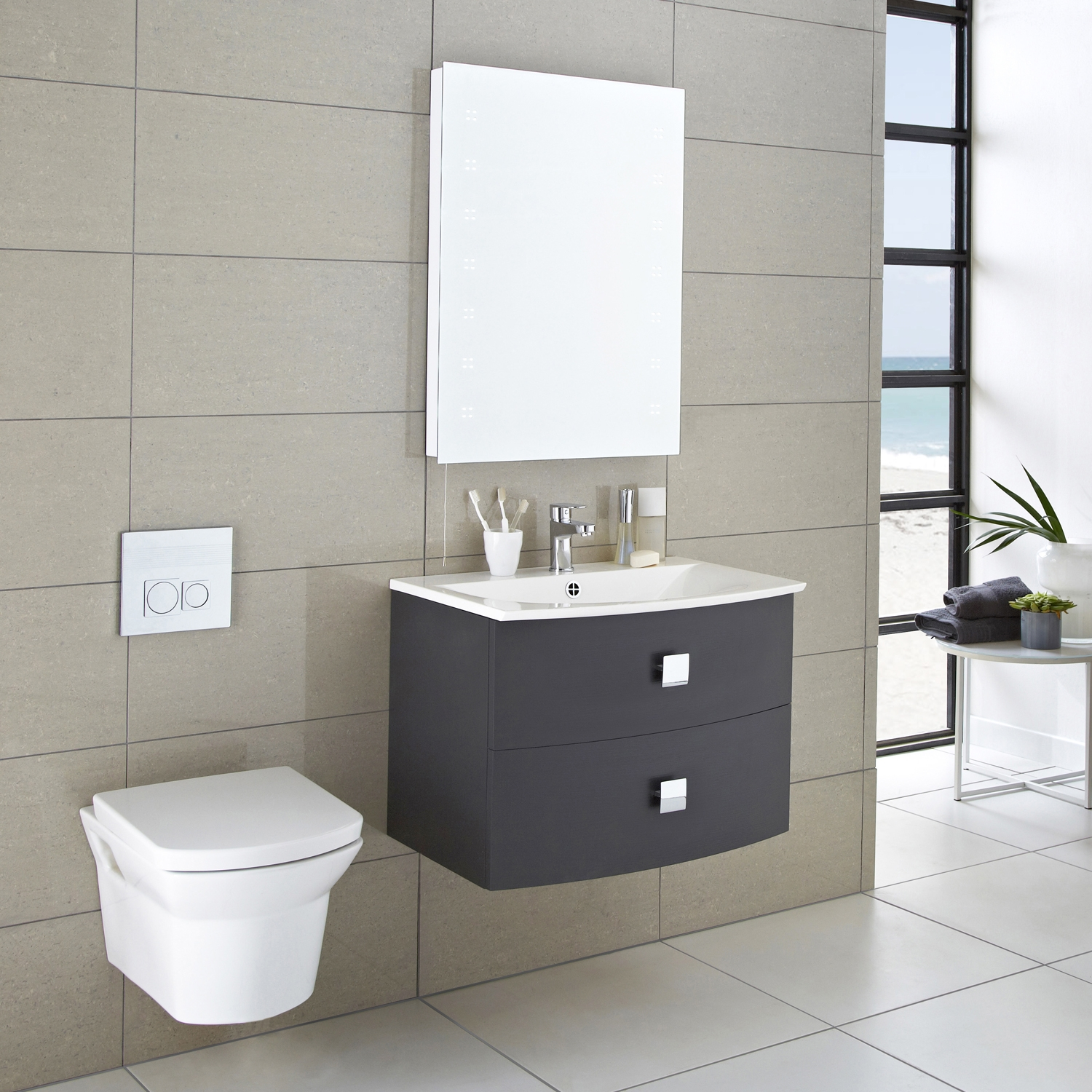 Hudson Reed Sarenna Wall Hung Vanity Unit and Basin 700mm Wide Graphite 1 Tap Hole