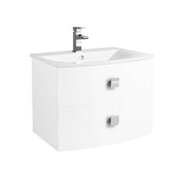 Hudson Reed Sarenna Wall Hung Vanity Unit and Basin 700mm Wide White 1 Tap Hole