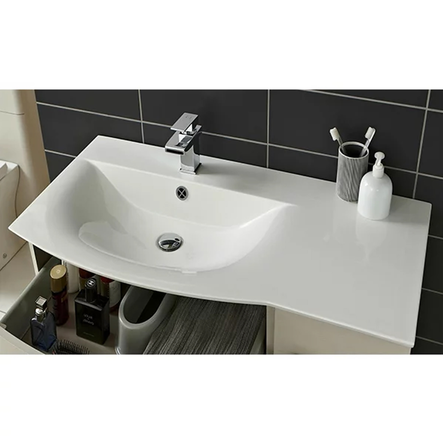 Hudson Reed Sarenna LH Wall Hung Vanity Unit and Basin 1000mm Wide White 1 Tap Hole