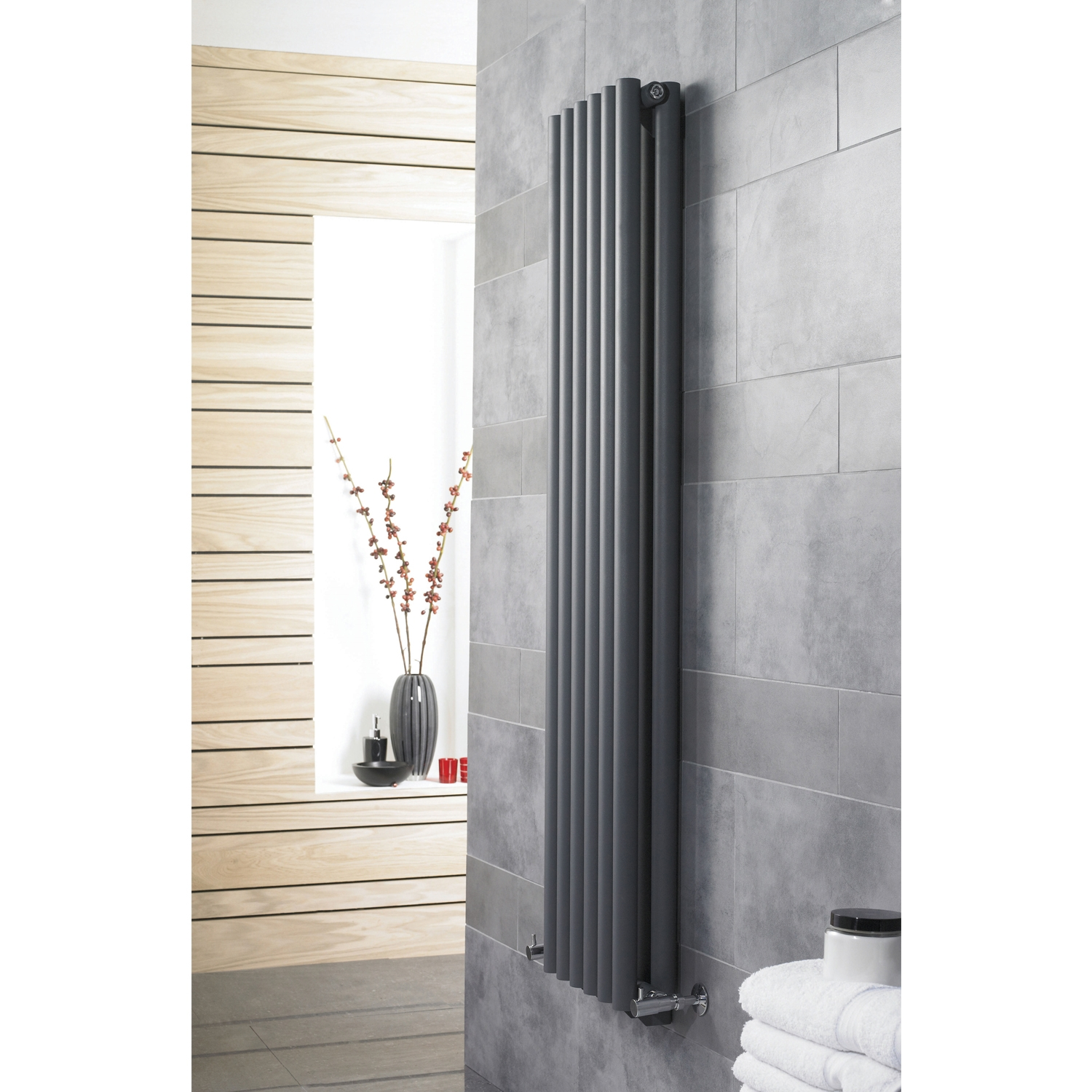Hudson Reed Savy Double Designer Vertical Radiator 1800mm H x 354mm W Anthracite