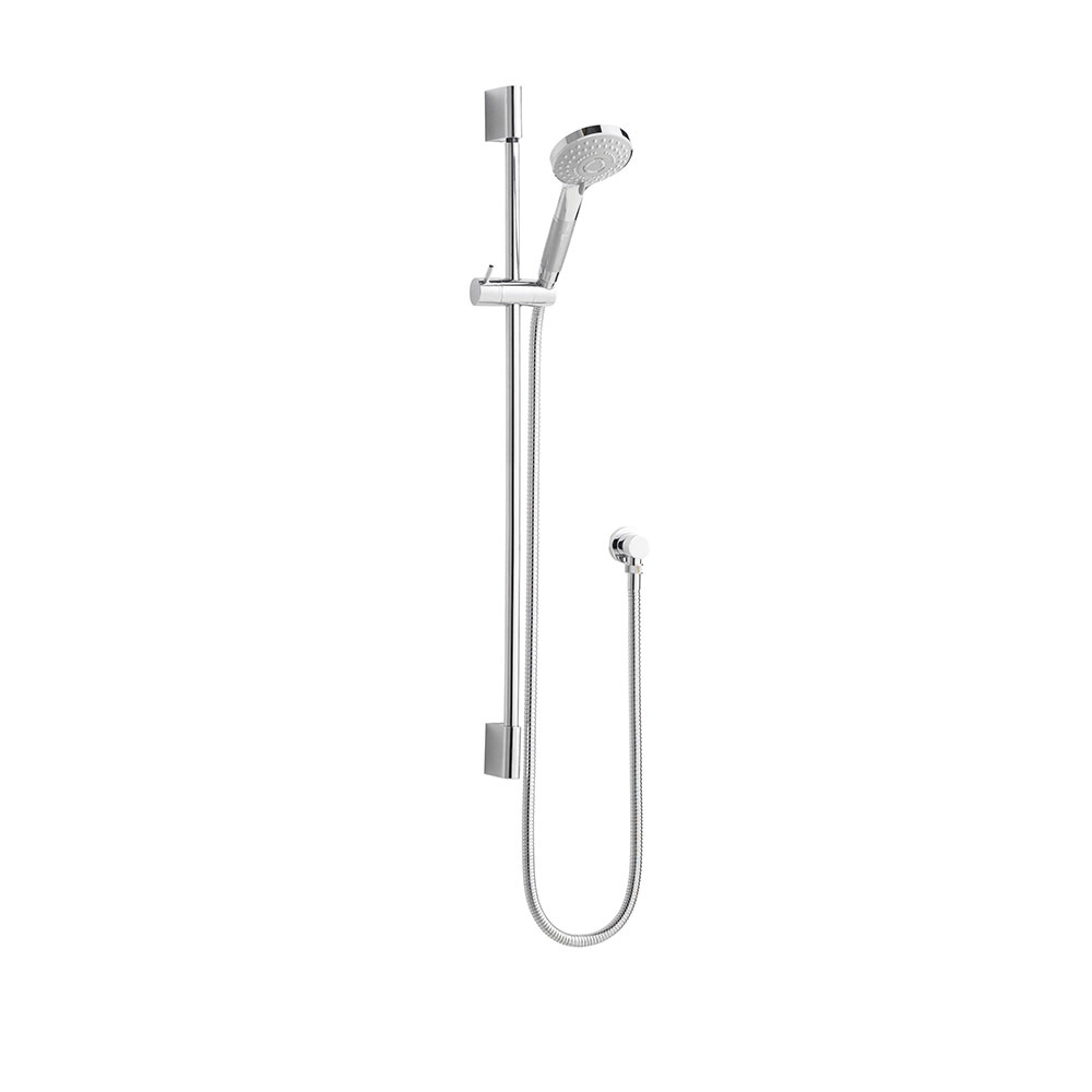 Hudson Reed Slimline Slider Shower Rail Kit, Three Function Handset, Chrome