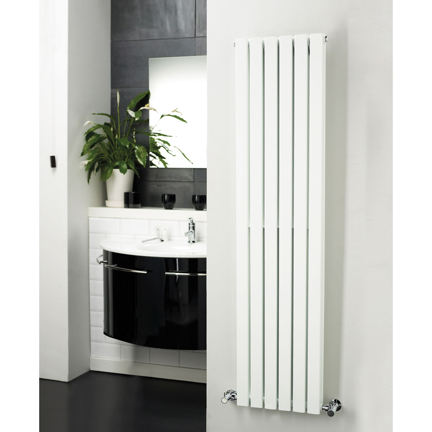 Hudson Reed Sloane Single Designer Vertical Radiator 1500mm H x 354mm W White-0