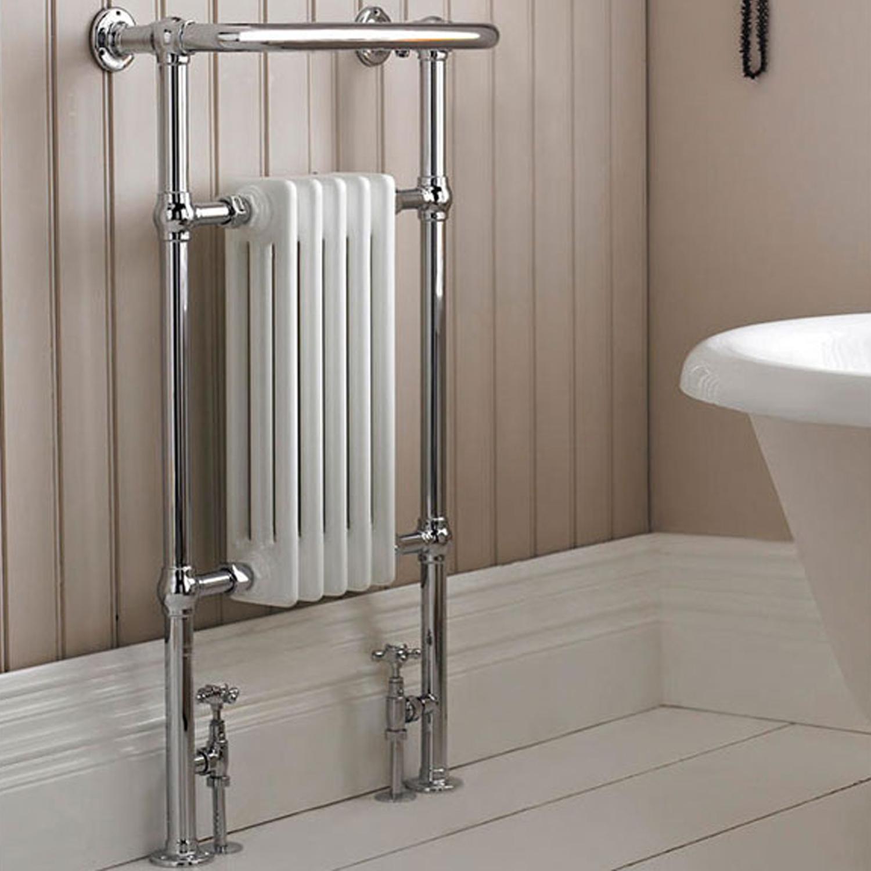 Hudson Reed Small Harrow Heated Towel Rail 965mm H x 540mm W Chrome/White