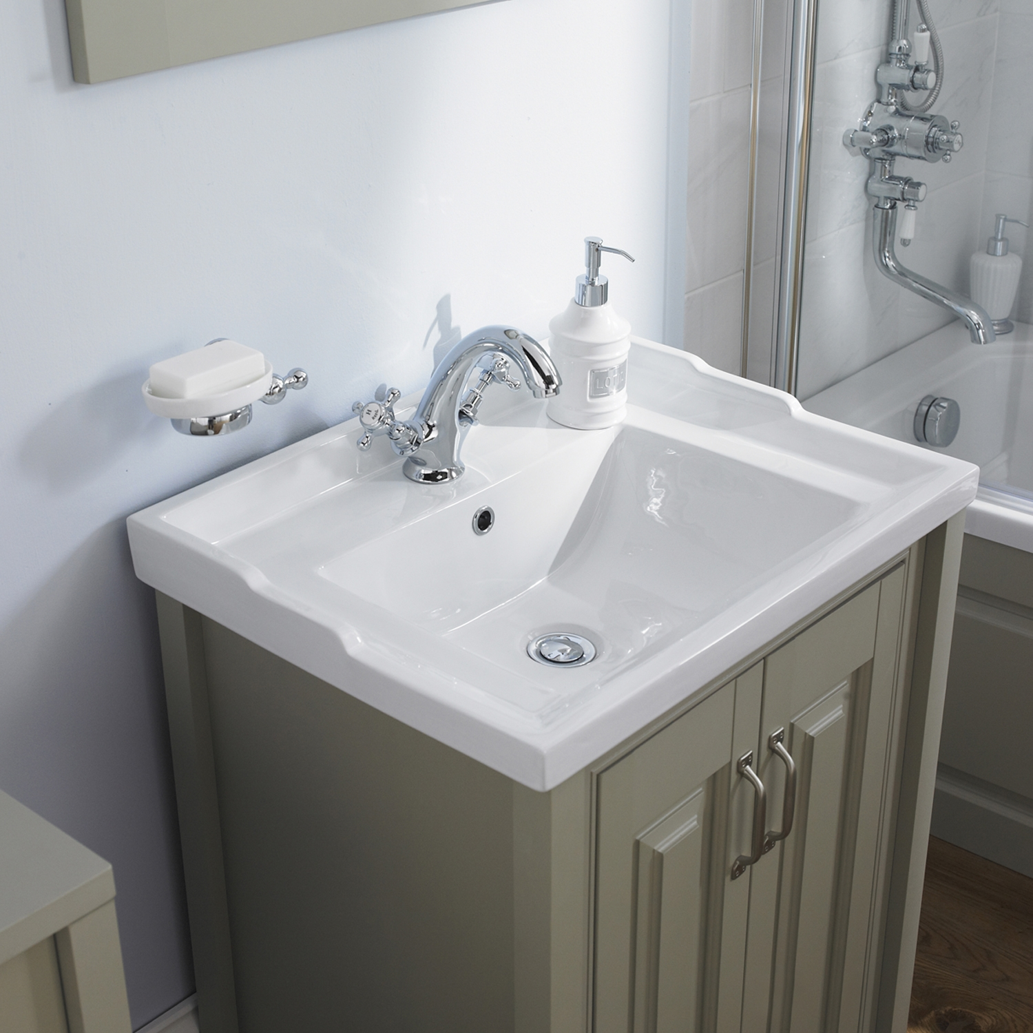 Hudson Reed Stone Grey Bathroom Vanity Unit & Basin 600mm Wide 1 Tap Hole