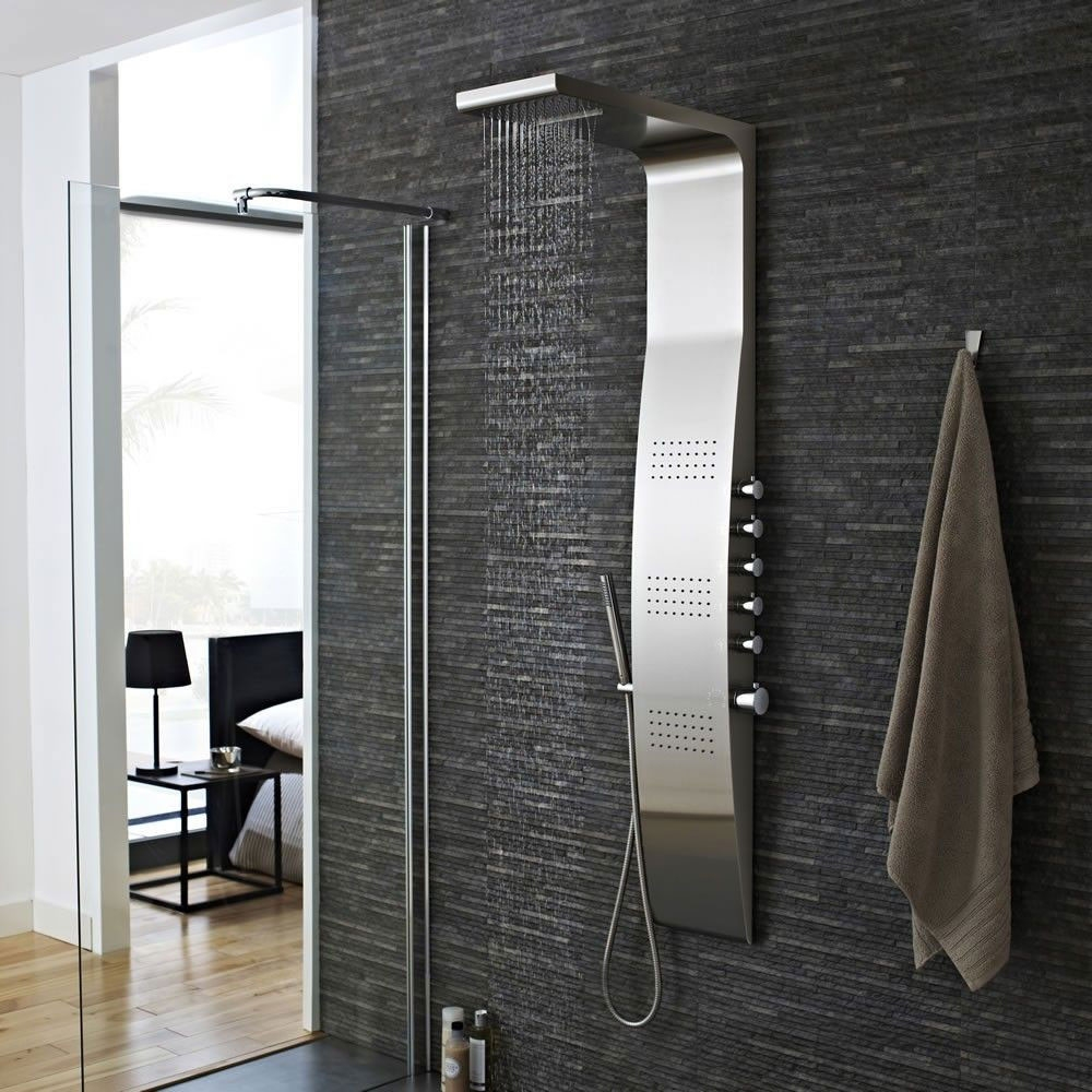 Hudson Reed Surface Curve Thermostatic Shower Tower Panel 3 Square Body Jets - Stainless Steel-0