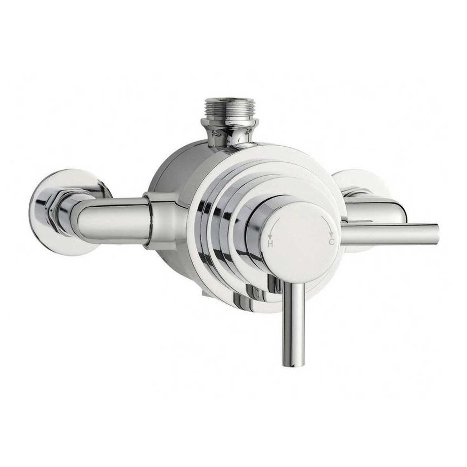 Hudson Reed Tec Dual Exposed Shower Mixer with Shower Kit + Fixed Head - Chrome