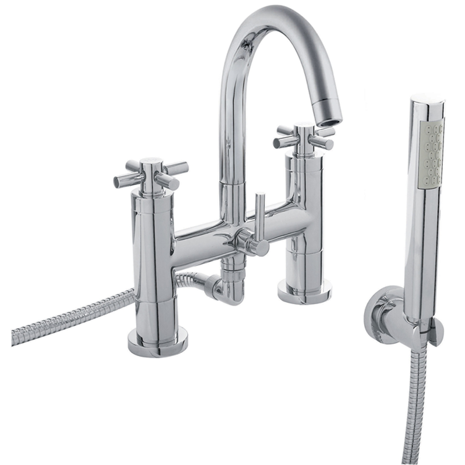 Hudson Reed Tec Crosshead 3 Hole Basin Mixer Tap and Bath Shower Mixer Tap, Chrome