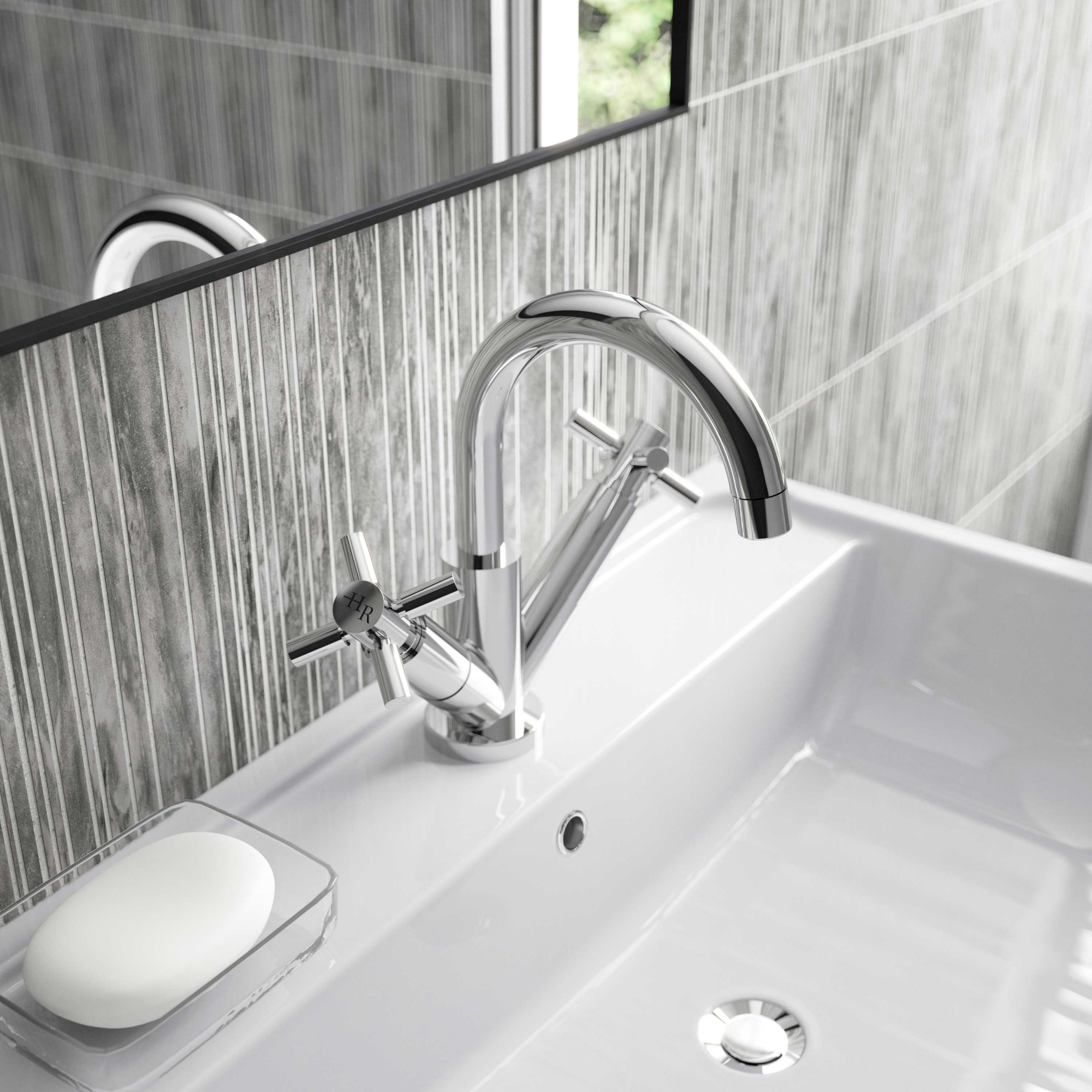 Hudson Reed Tec Crosshead Cloakroom Mono Basin Mixer Tap Dual Handle Push Button Waste - Chrome