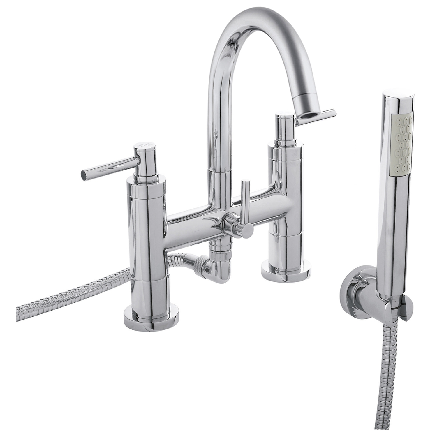 Hudson Reed Tec Lever Basin Mixer Tap and Bath Shower Mixer Tap, Chrome-0