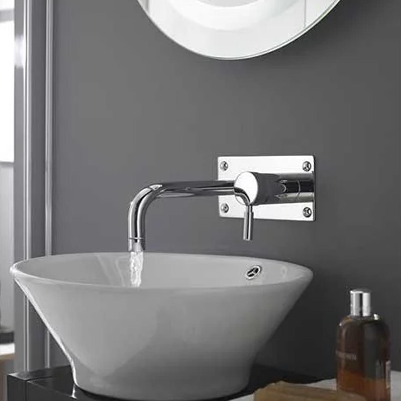 Hudson Reed Tec Single Lever Basin/Bath Filler Tap, Wall Mounted, Chrome-0