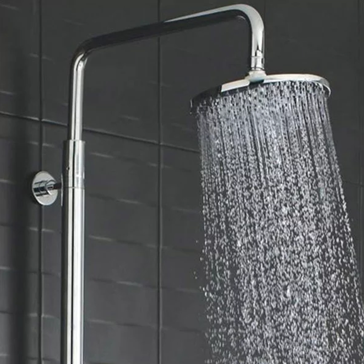 Hudson Reed Telescopic Shower Riser Kit 1 with Diverter, Pencil Handset and Fixed Head, Chrome-0