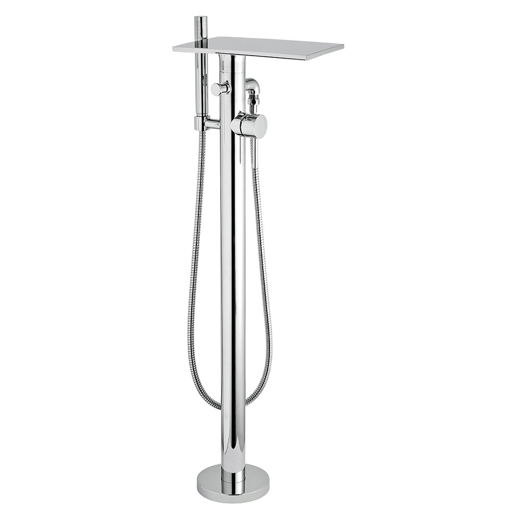 Hudson Reed Thin Mono Bath Shower Mixer Tap Floor Mounted - Chrome