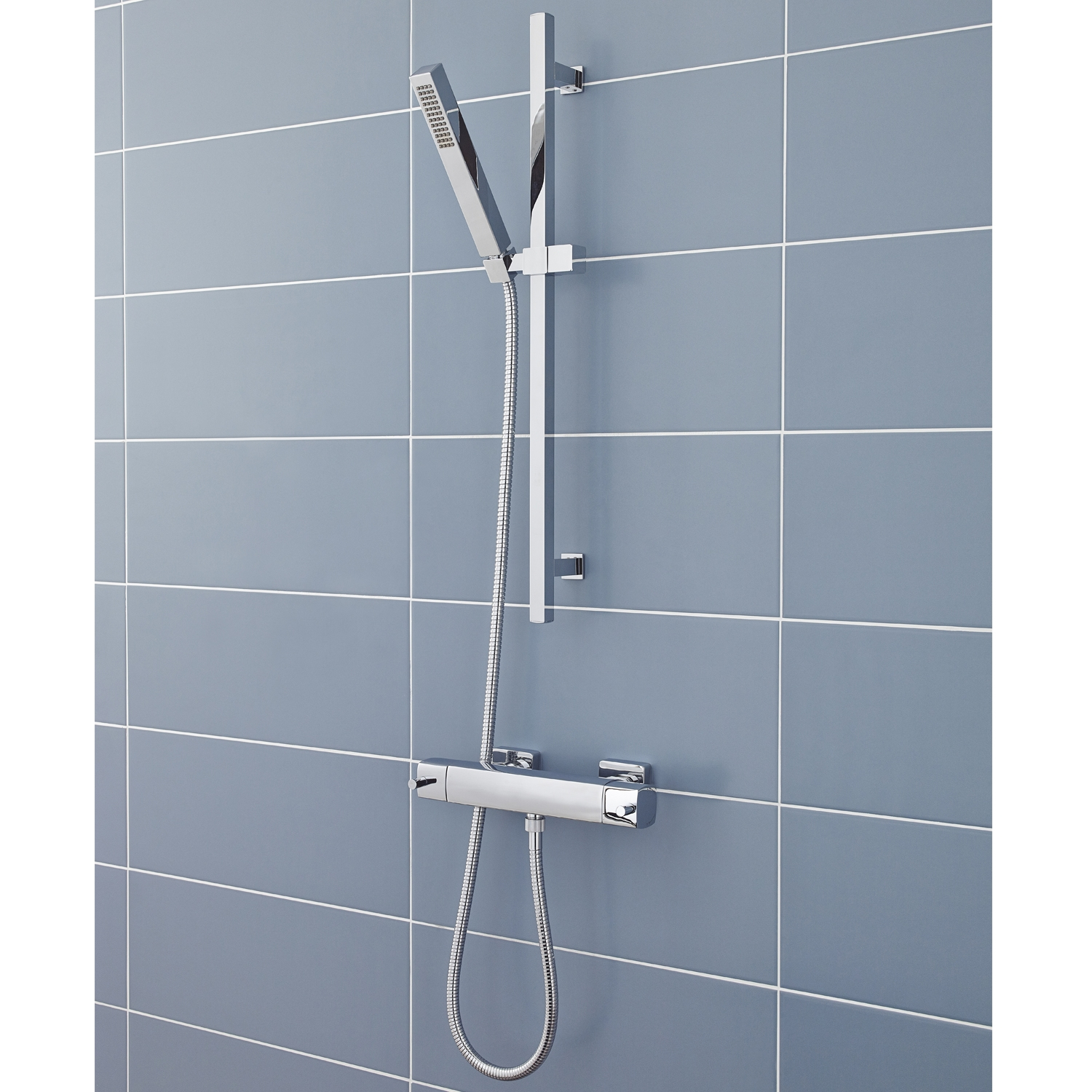 Hudson Reed Quadro Bar Mixer Shower with Modern Shower Kit