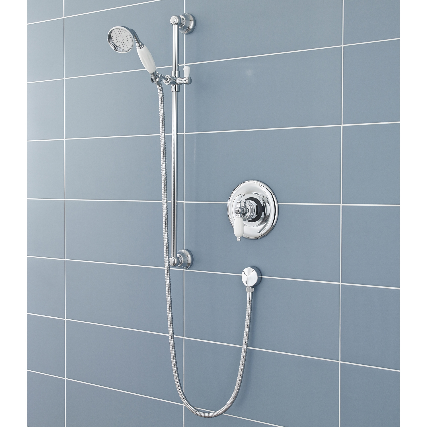 Hudson Reed Traditional Slider Shower Rail Kit, Traditional Handset, Chrome