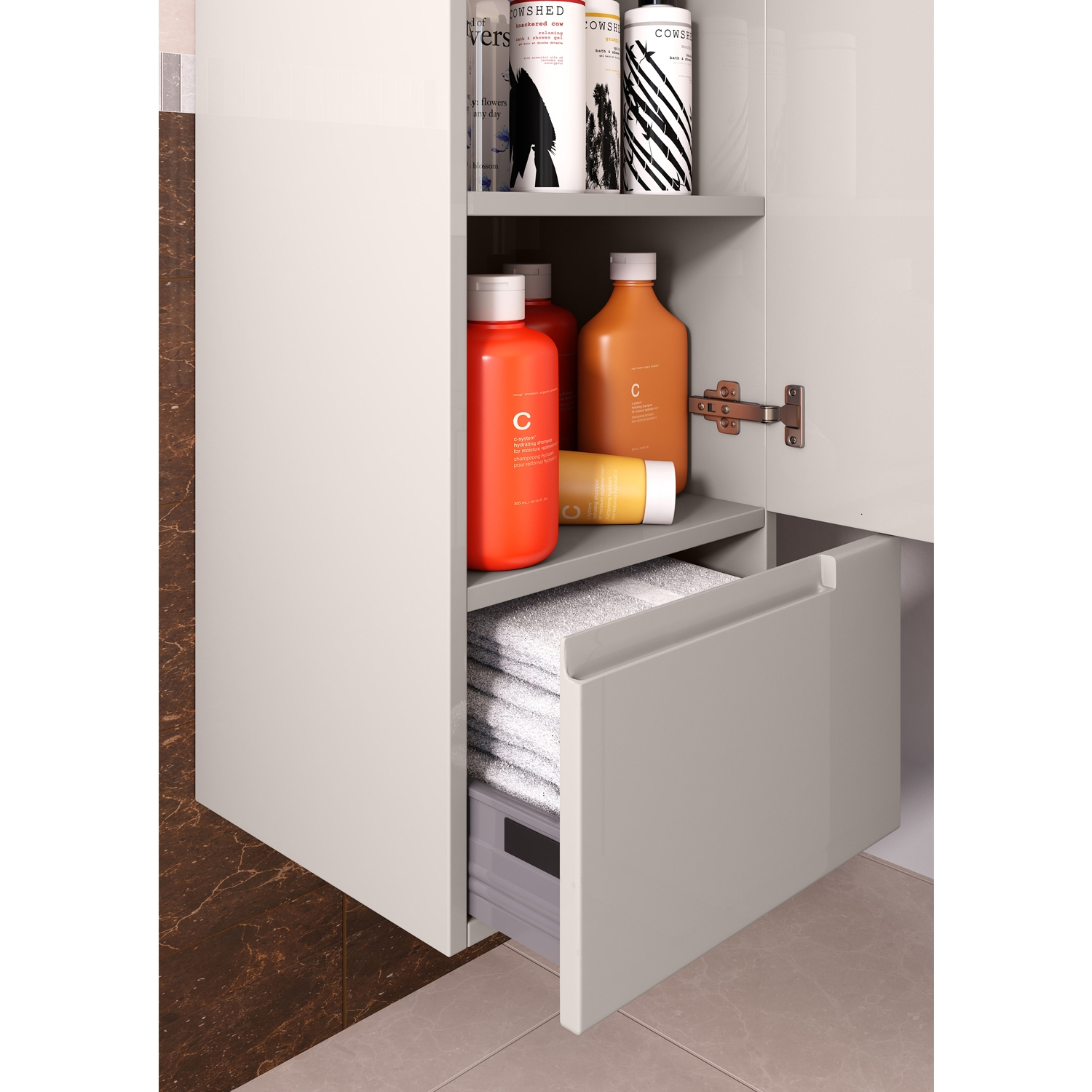 Hudson Reed Urban Tall Storage Unit, 400mm Wide, Gloss Cashmere