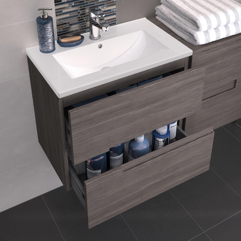 Hudson Reed Urban 2 Wall Hung Vanity Unit with Minimalist Basin 600mm Wide Grey Avola 1 Tap Hole