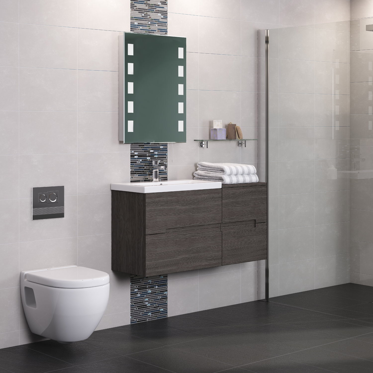 Hudson Reed Urban 2 Wall Hung Vanity Unit with Basin 2 Grey Avola - 600mm Wide
