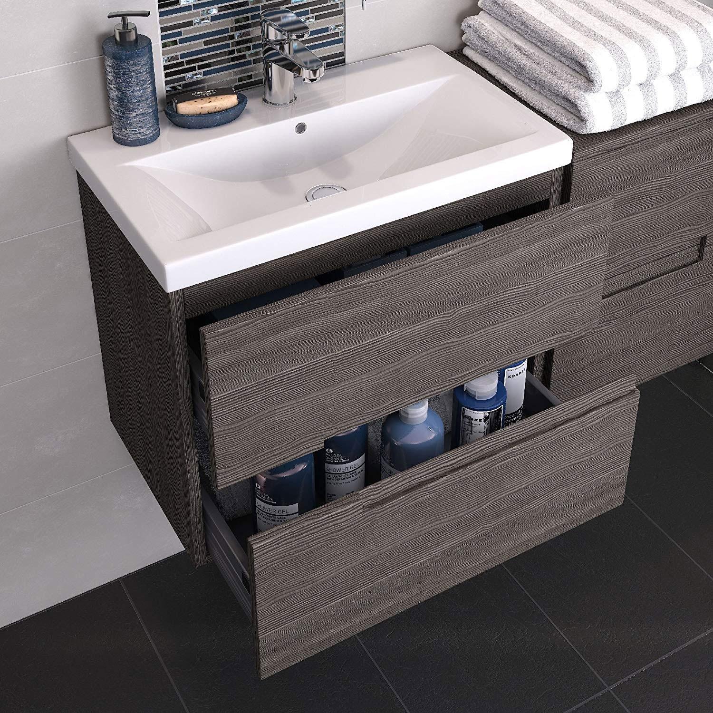 Hudson Reed Urban 2 Floor Standing Vanity Unit & Basin 2 Grey Avola - 600mm Wide