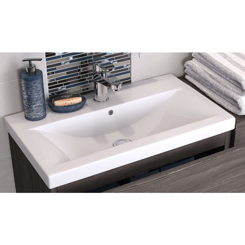 Hudson Reed Urban 2 Floor Standing Vanity Unit and Minimalist Basin 800mm Wide Grey Avola 1 Tap Hole