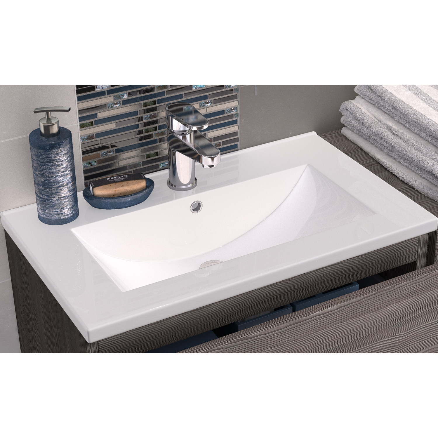 Hudson Reed Urban Wall Mounted Vanity Unit with Minimalist Basin 500mm Wide Cashmere 1 Tap Hole-0