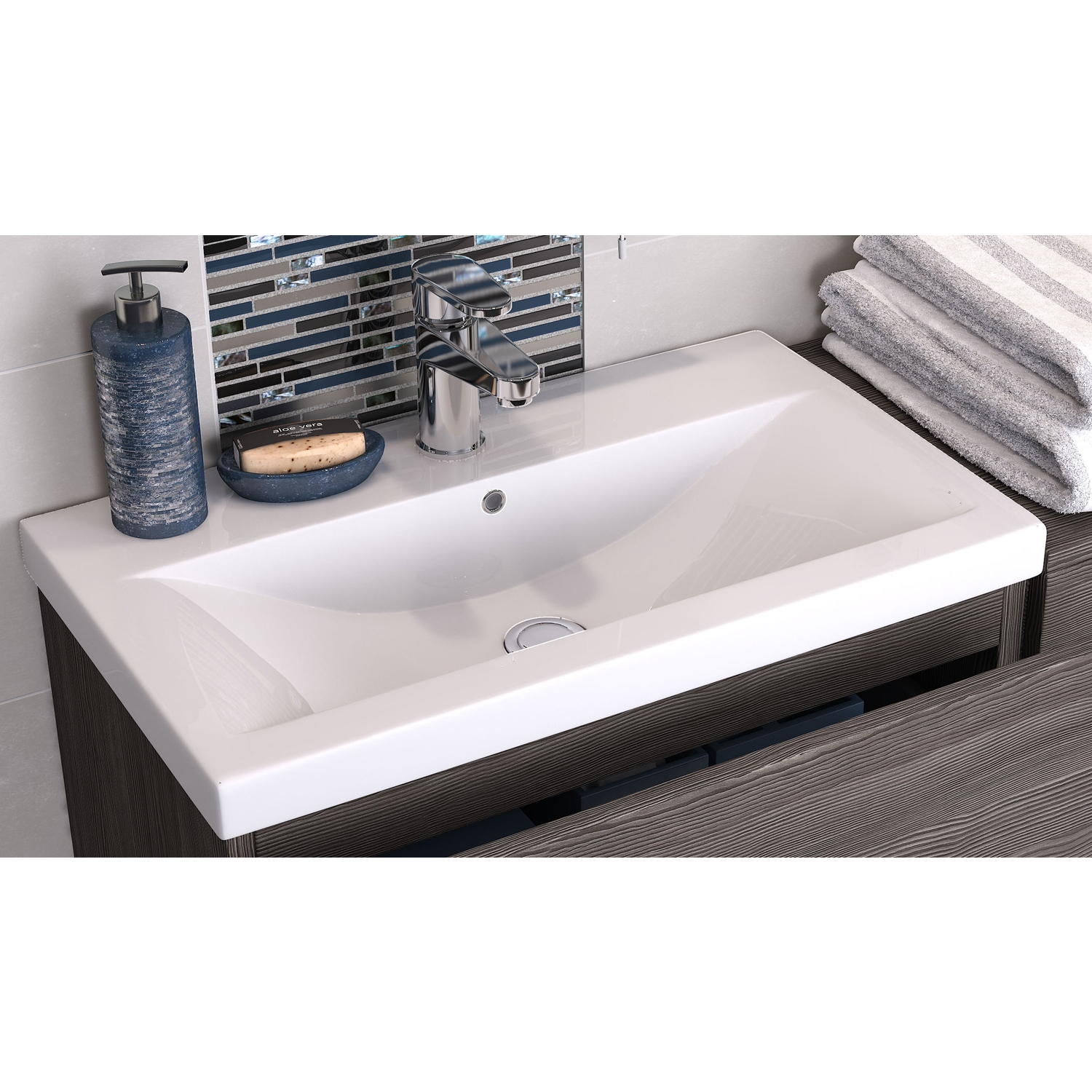 Hudson Reed Urban Wall Hung Vanity Unit and Mid-Edged Basin 500mm Wide Grey Avola 1 Tap Hole