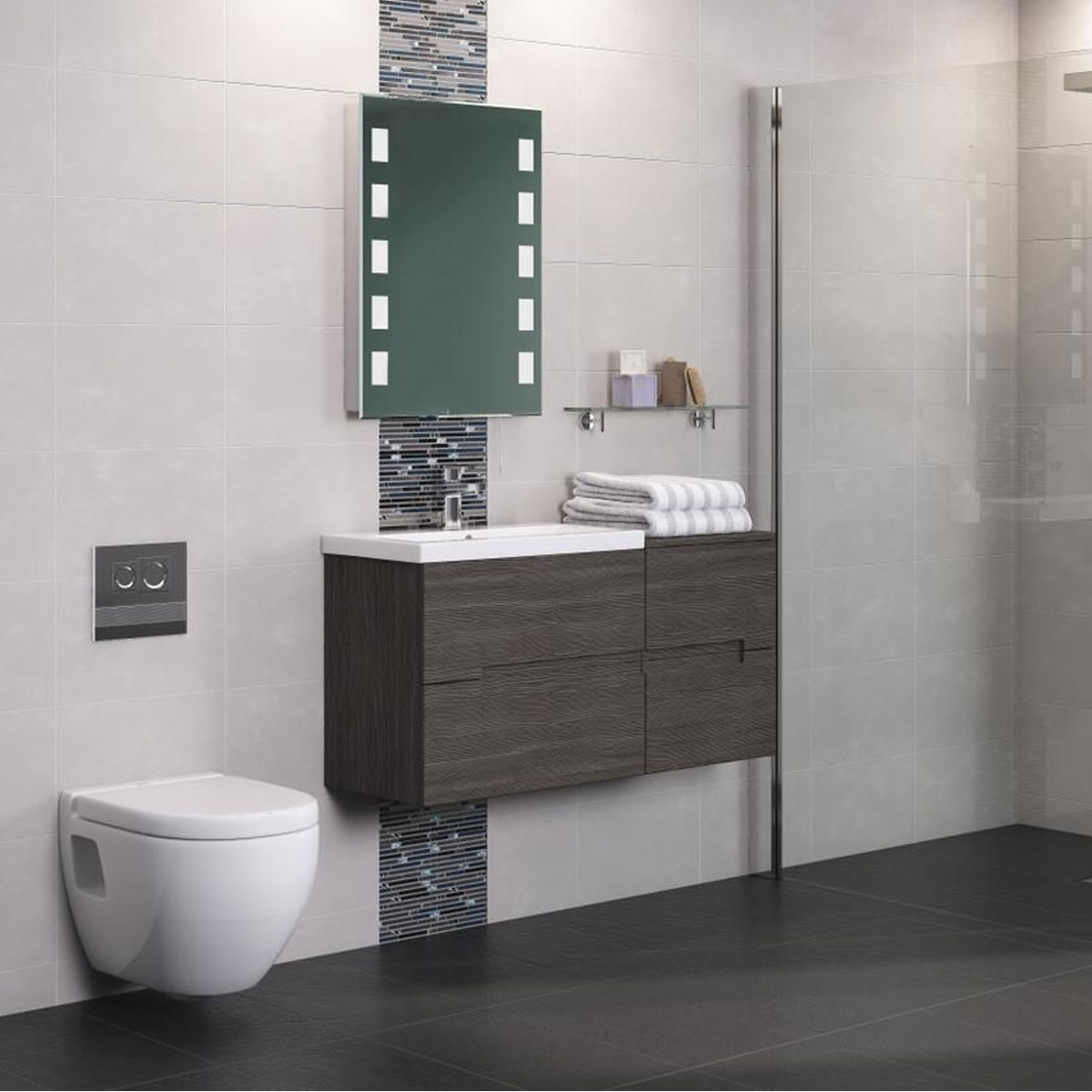 Hudson Reed Urban Wall Mounted Vanity Unit with Basin 2 Grey Avola - 500mm Wide