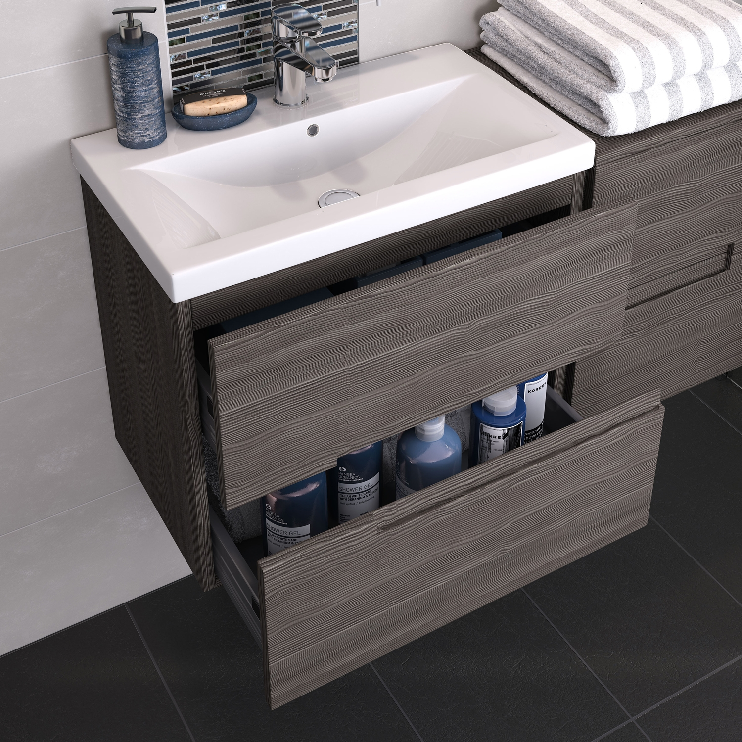 Hudson Reed Urban 1 Wall Hung Vanity Unit with Mid-Edged Basin 800mm Wide Grey Avola 1 Tap Hole