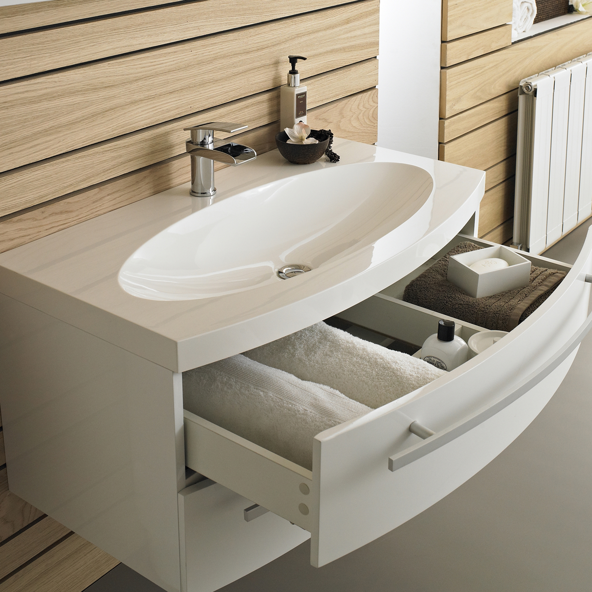 Hudson Reed Vanguard Wall Mounted Bathroom Vanity Unit and Basin 900mm Wide White 1 Tap Hole-1