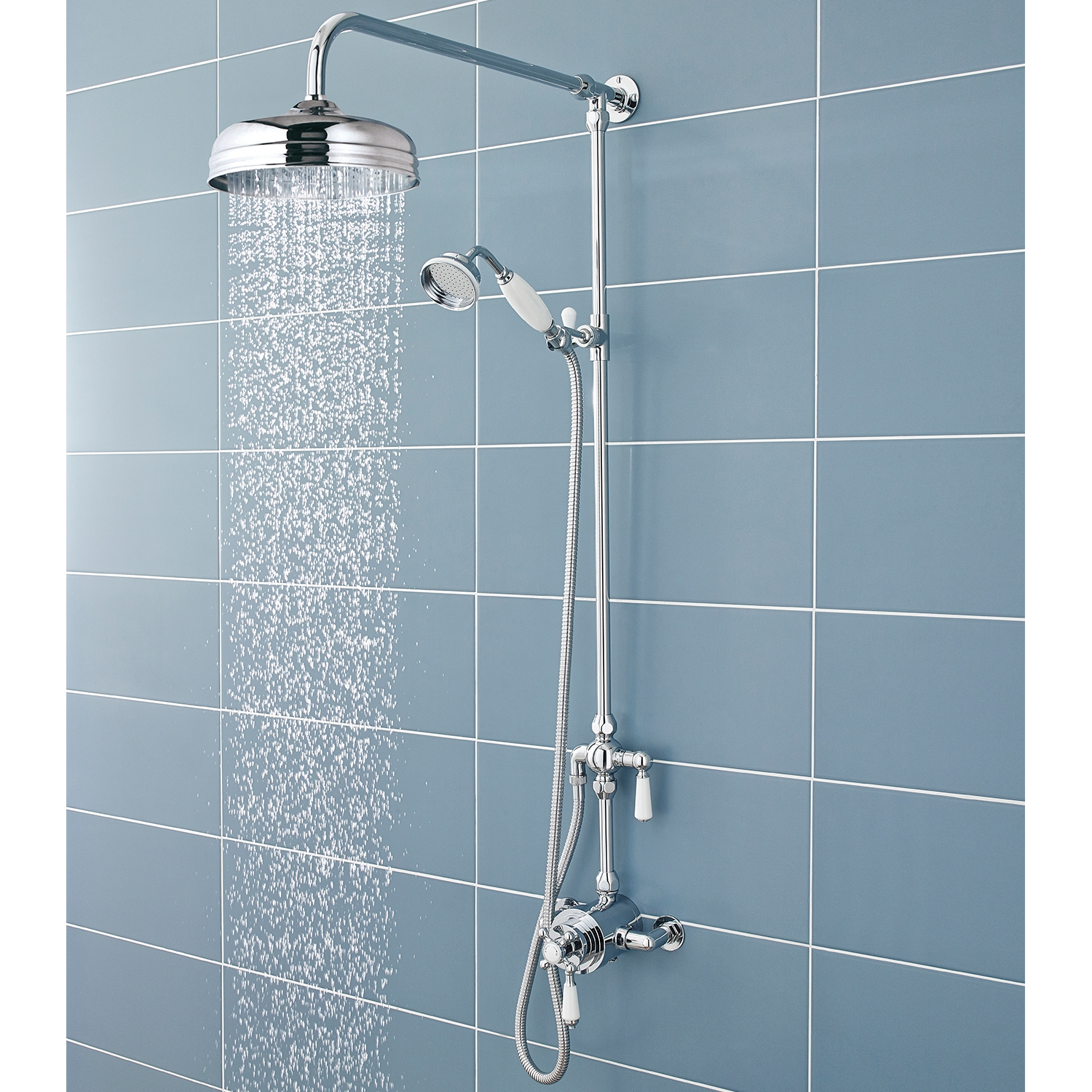 Hudson Reed Victorian Grand Shower Riser Kit with Diverter, Fixed Shower Head, Handset, Chrome-0