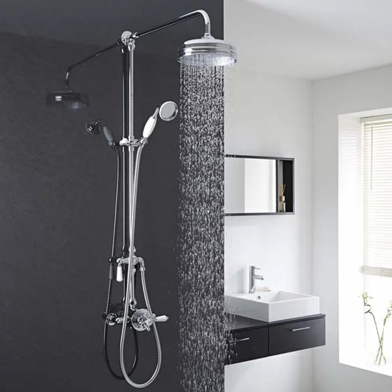 Hudson Reed Victorian Grand Shower Riser Kit with Diverter, Fixed Shower Head, Handset, Chrome-3