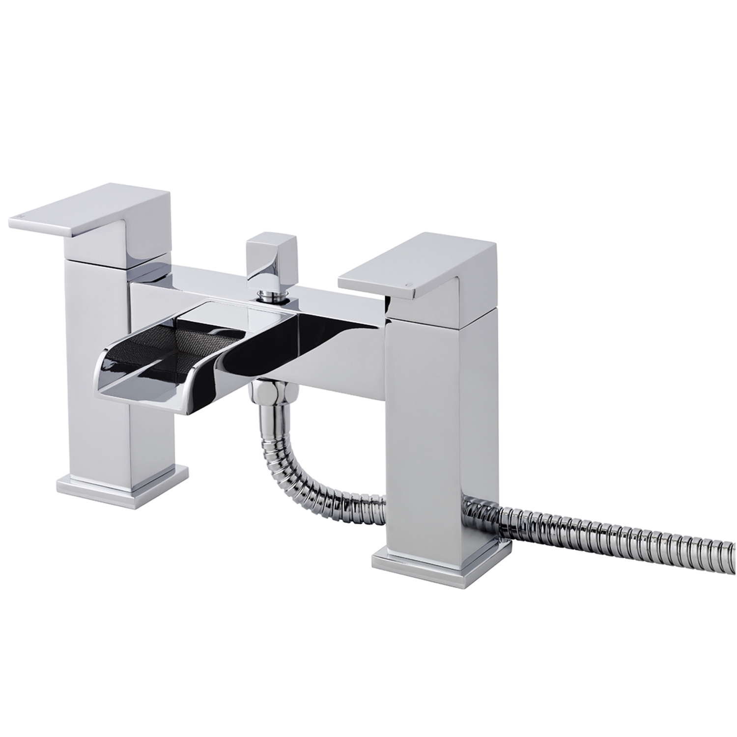 Hudson Reed Waterfall Mini Mono Basin Mixer Tap and Bath Shower Mixer Tap, Chrome