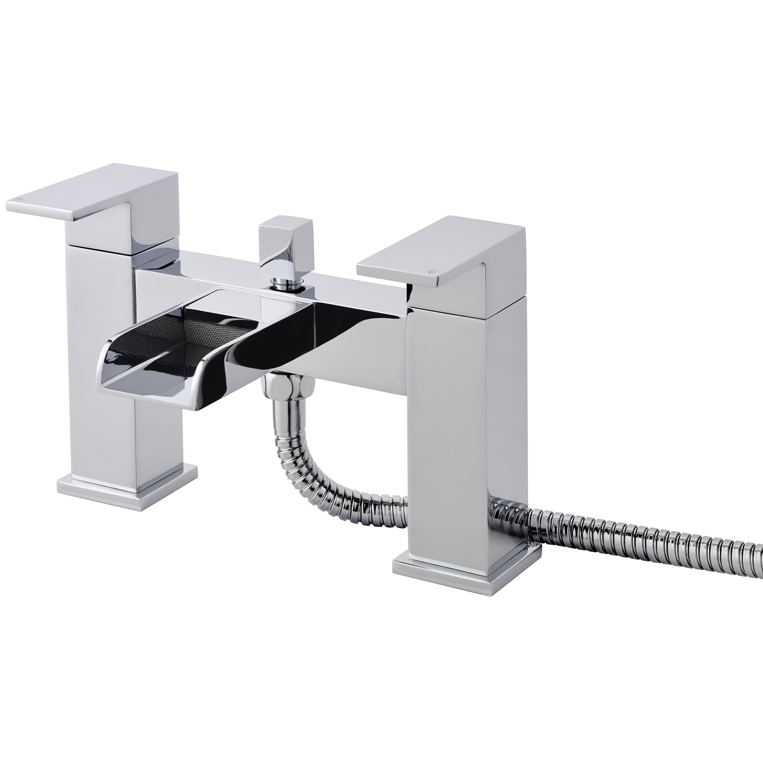 Hudson Reed Waterfall Mono Basin Mixer Tap and Bath Shower Mixer Tap, Chrome