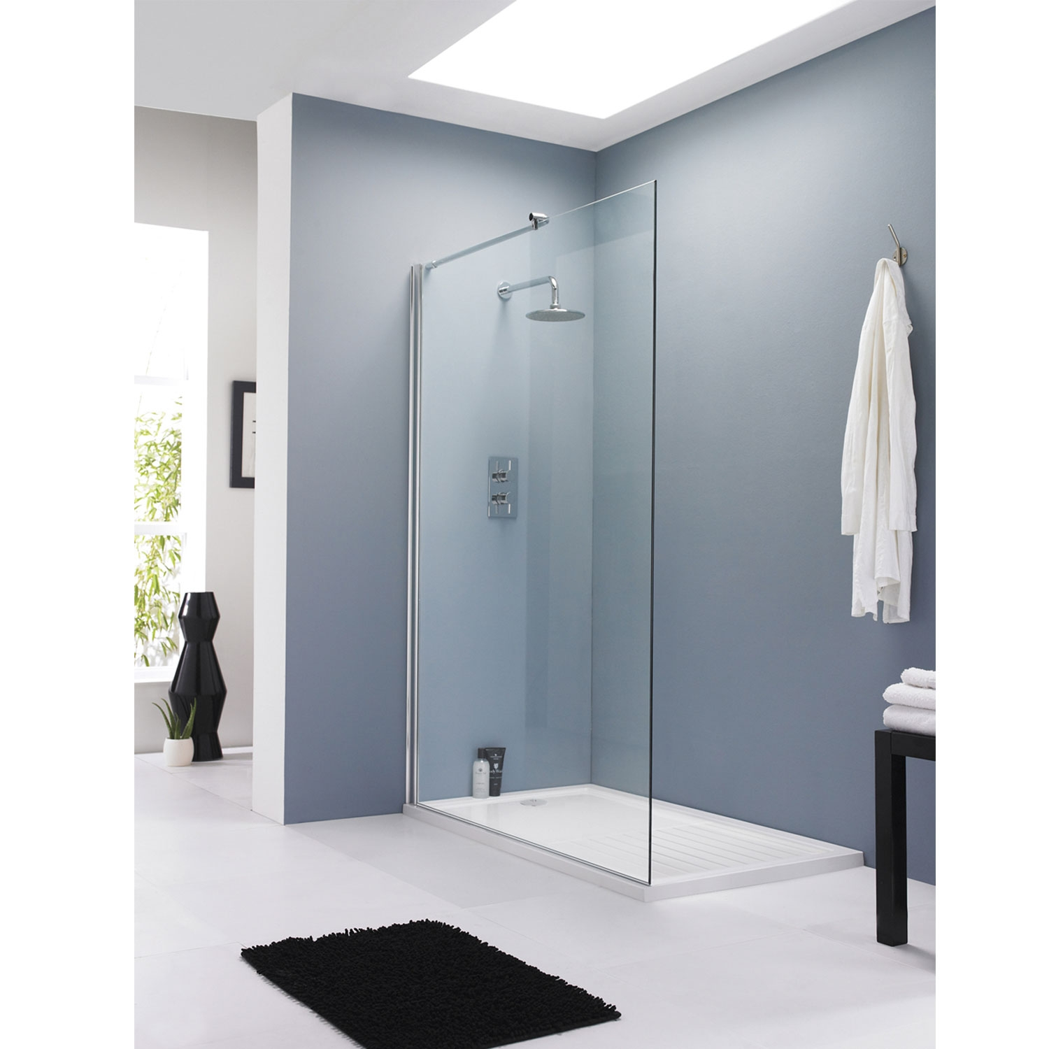Hudson Reed Wet Room Screen with Support Bar 1200mm Wide - 8mm Glass-1