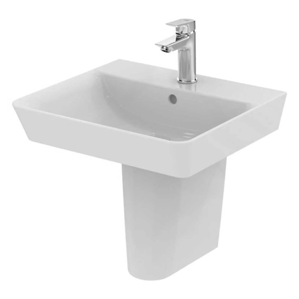 Ideal Standard Concept Air Cube Basin with Semi Pedestal 500mm Wide - 1 Tap Hole