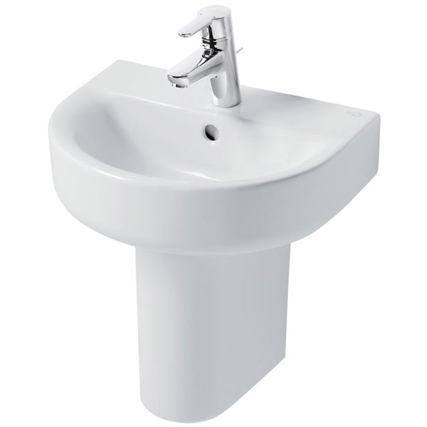 Ideal Standard Concept Arc Handrinse Basin and Semi Pedestal 450mm Wide 1 Tap Hole