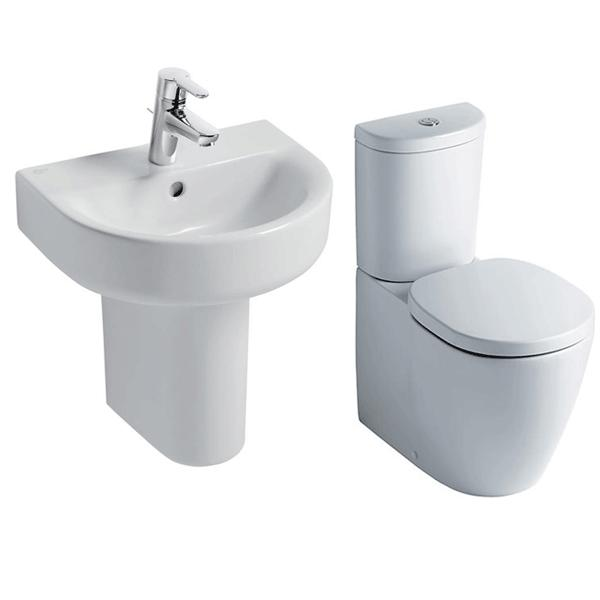 Ideal Standard Concept Bathroom Cloakroom Suite Close 1 Tap Basin White-2