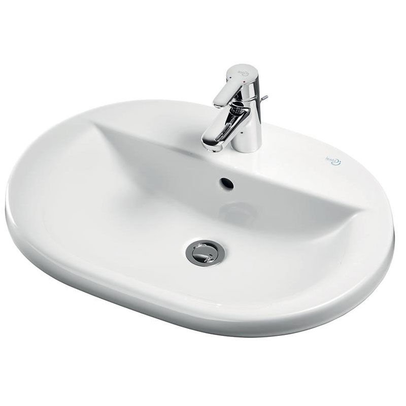 Ideal Standard Concept Oval Countertop Basin 620mm Wide 1 Tap Hole