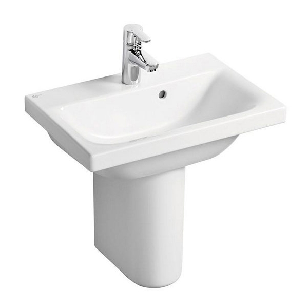 Ideal Standard Concept Space Basin with Semi Pedestal 550mm Wide - 1 Tap hole