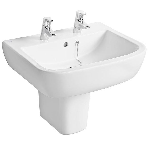 Ideal Standard Tempo Basin and Semi Pedestal 550mm Wide 2 Tap Holes