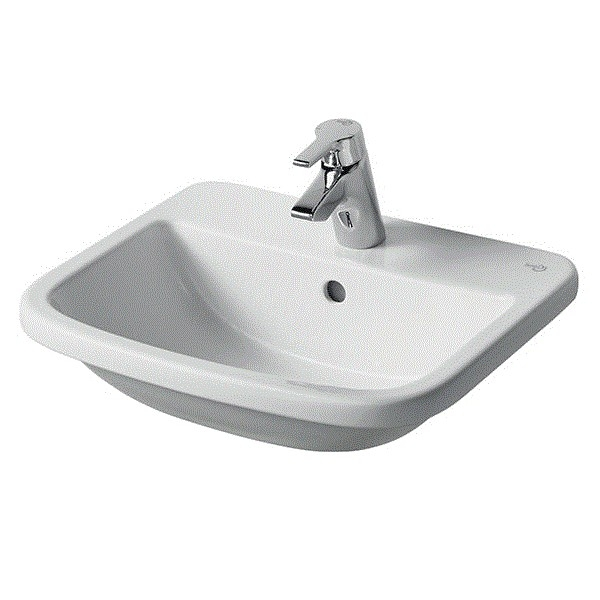Ideal Standard Tempo Countertop Washbasin 500mm Wide 1 Tap Hole-0