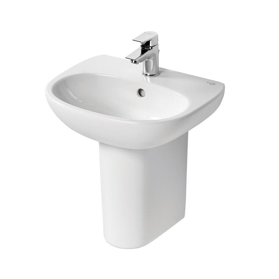Ideal Standard Tesi Cloakroom Basin with Semi Pedestal 450mm Wide - 1 Tap Hole