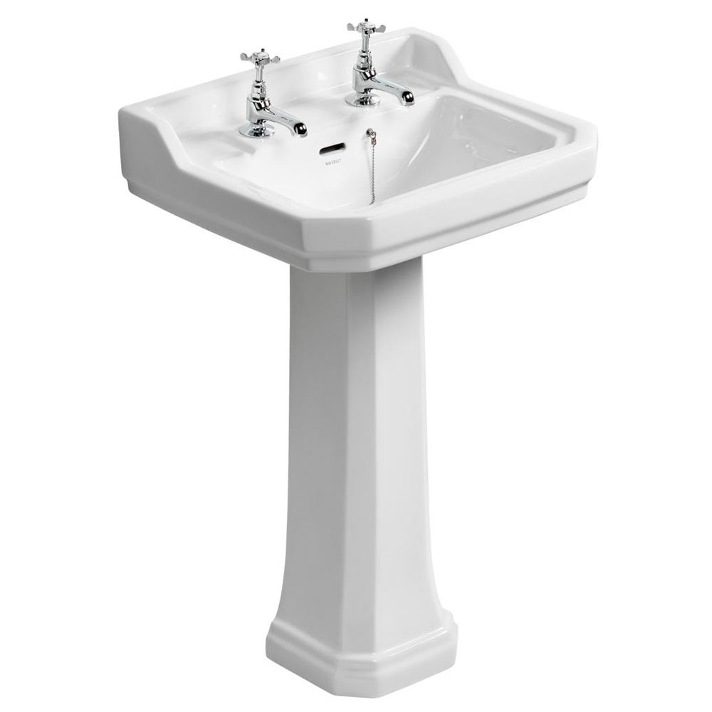 Ideal Standard Waverley Classic Basin with Full Pedestal 560mm W - 2 Tap Holes