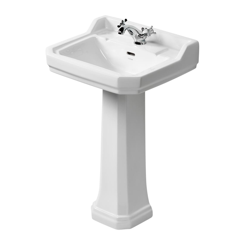 Ideal Standard Waverley Classic Basin with Full Pedestal 560mm Wide - 1 Tap Hole