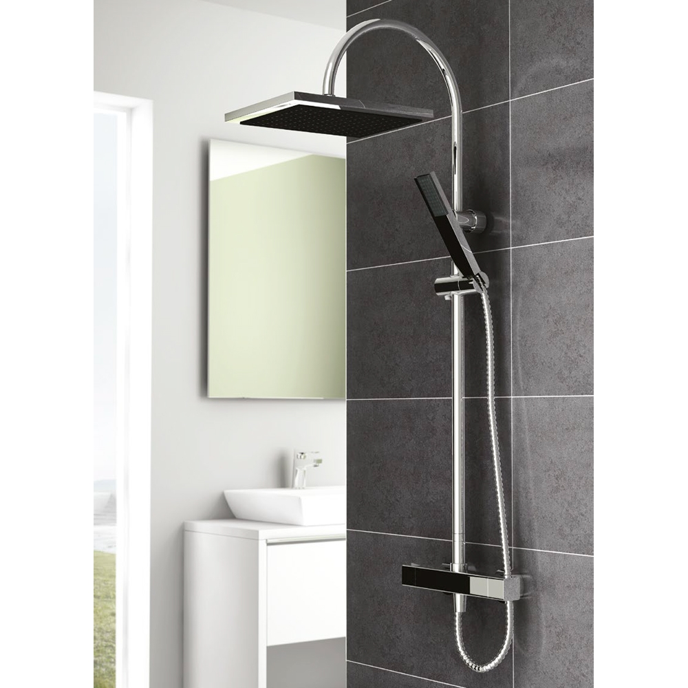 Inta Mio Complete Thermostatic Bar Shower & Fixed Riser - Chrome-0