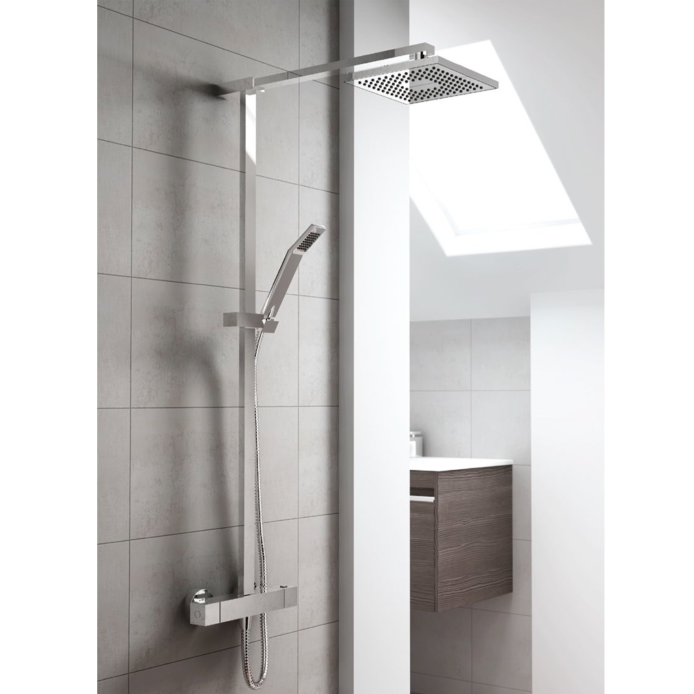 Inta Nulo Thermostatic Bar Shower with Sliding Rail Kit, Overhead Soaker and Sliding Handset, Chrome